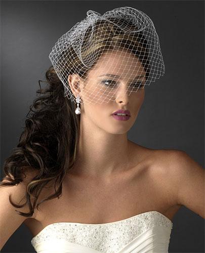 свадебная прическа с вуалеткой фото